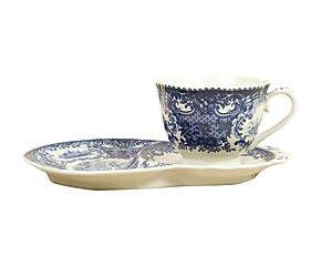 Tazza da the in ceramica con piattino doppio blu - 21x13x8 cm