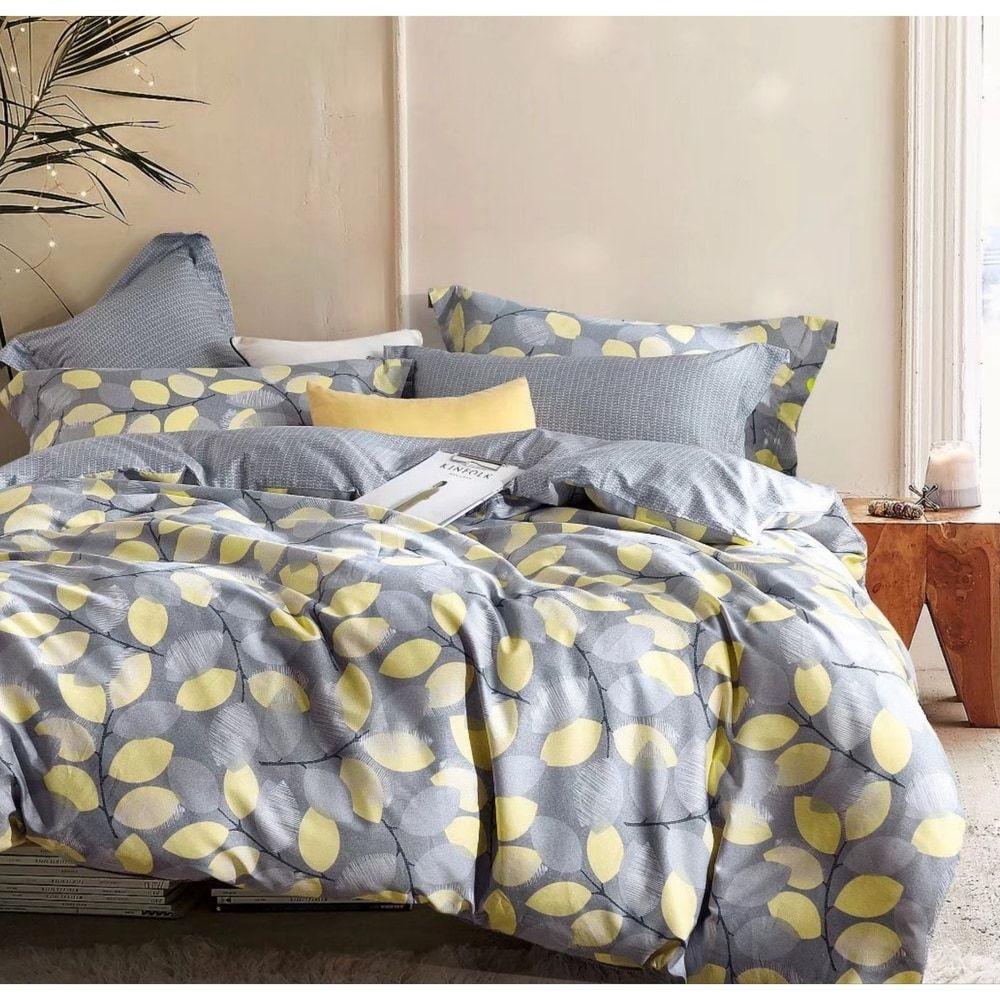 Porch Den Woodgrove Grey Yellow Leaf Pattern Cotton Comforter Set Comforter Sets Duvet Cover Sets Full Comforter Sets
