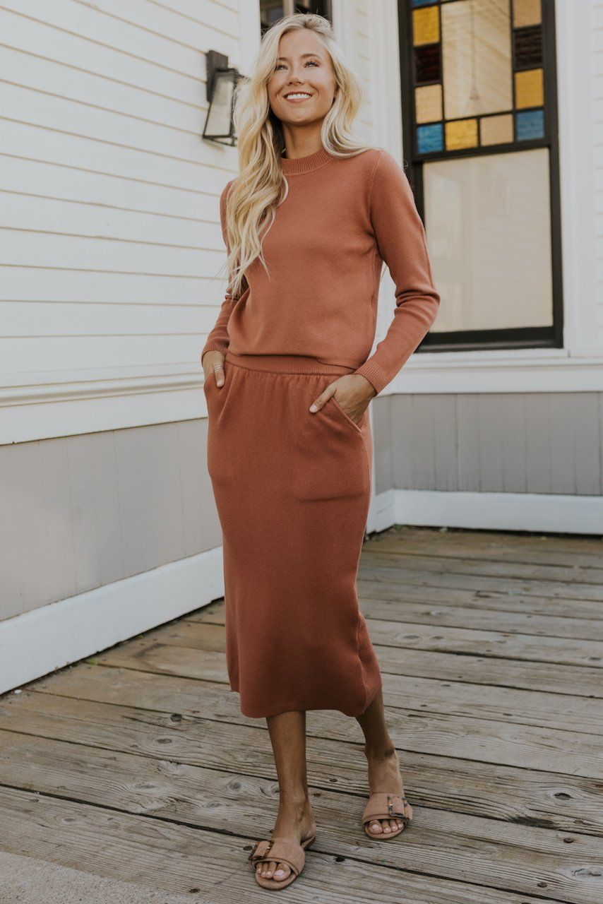 Wendi Knitted Midi In 2021 Sweater Dress Midi Colourful Outfits Rust Dress [ 1280 x 854 Pixel ]