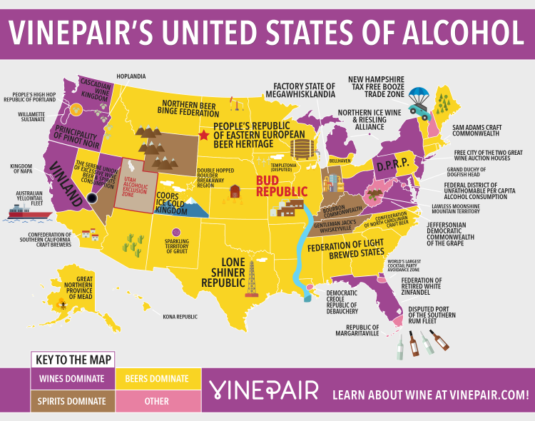 United States Of Alcohol A Colorful Map That Plots What Americans Generally Like To Drink By Region Alcohol Map Booze