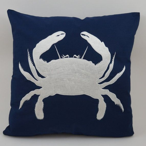Crab Embroidered Pillow Cover Fits 18 X 18 Etsy Nautical Pillows Crab Pillow Decorative Pillow Covers