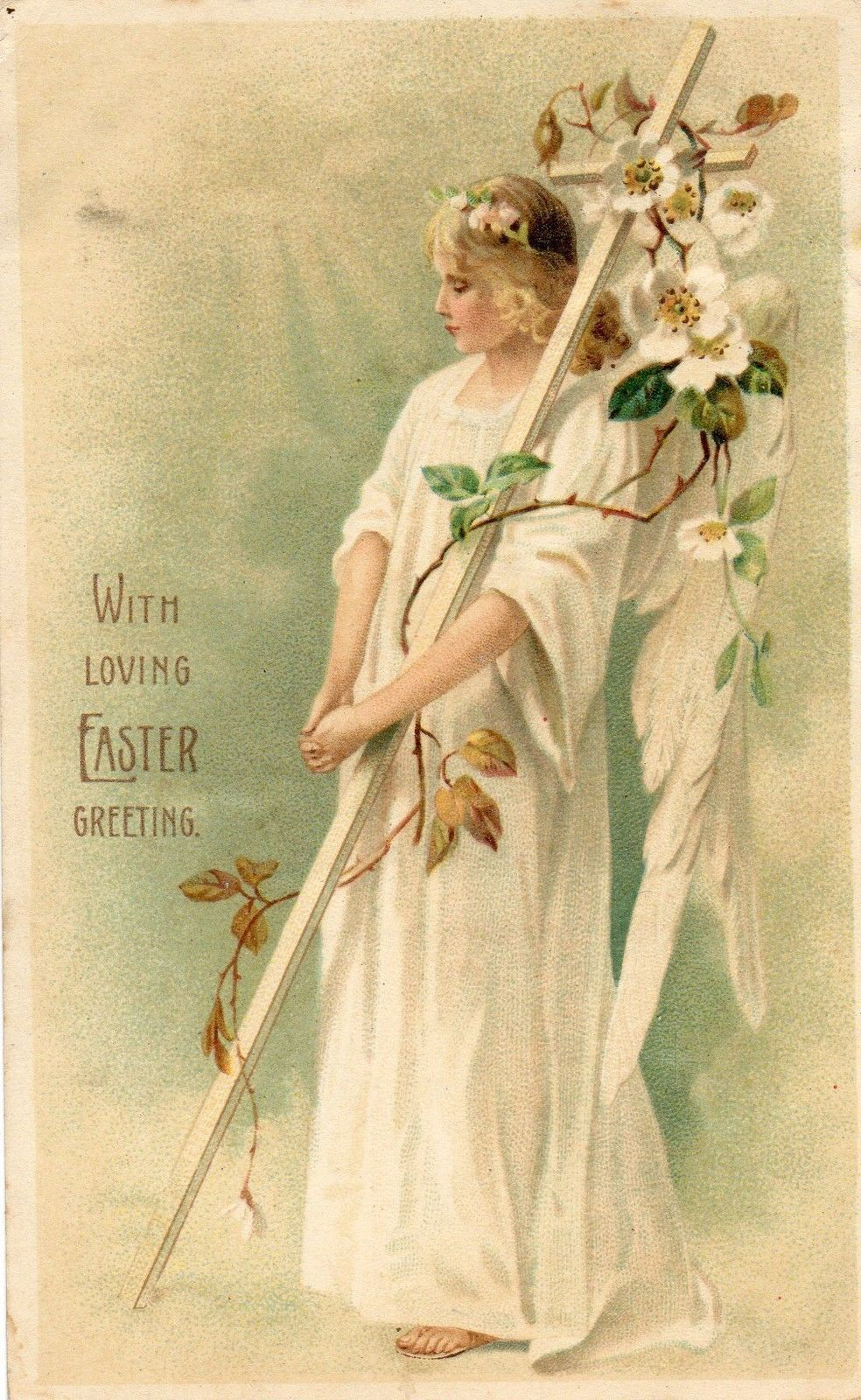 Easter Greetings Angel Holding Cross Religious Ebay Easter