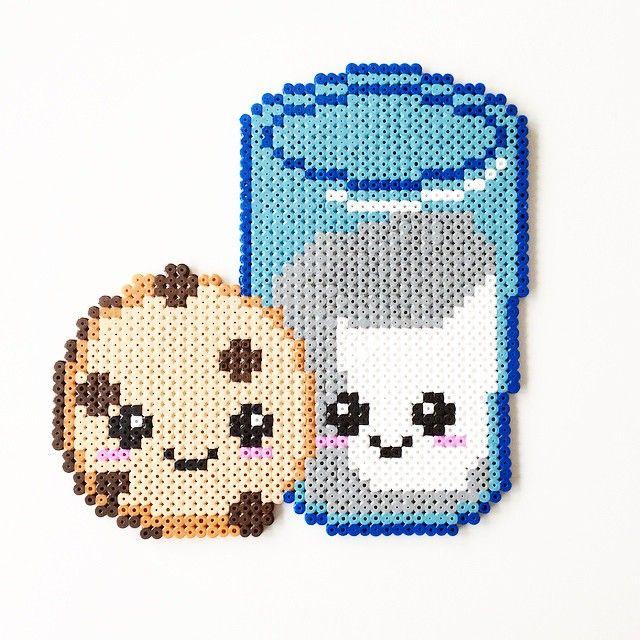 Milk & Cookie perler beads by perler_art | Perler Patterns ...