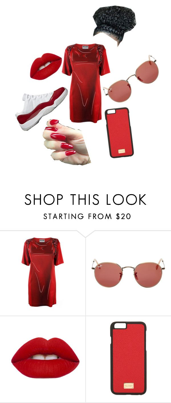 """""""a day out"""" by zarraahwilliams on Polyvore featuring Moschino, Ray-Ban, Lime Crime and Dolce&Gabbana"""