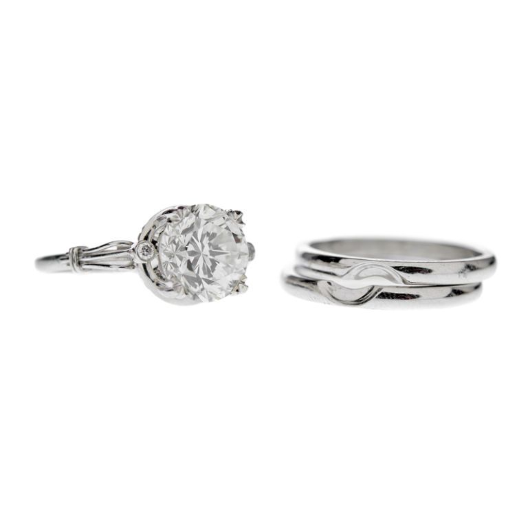 Round Brilliant Cut Diamond Platinum Ring & Wedding Band Pair | From a unique collection of vintage engagement rings at http://www.1stdibs.com/jewelry/rings/engagement-rings/
