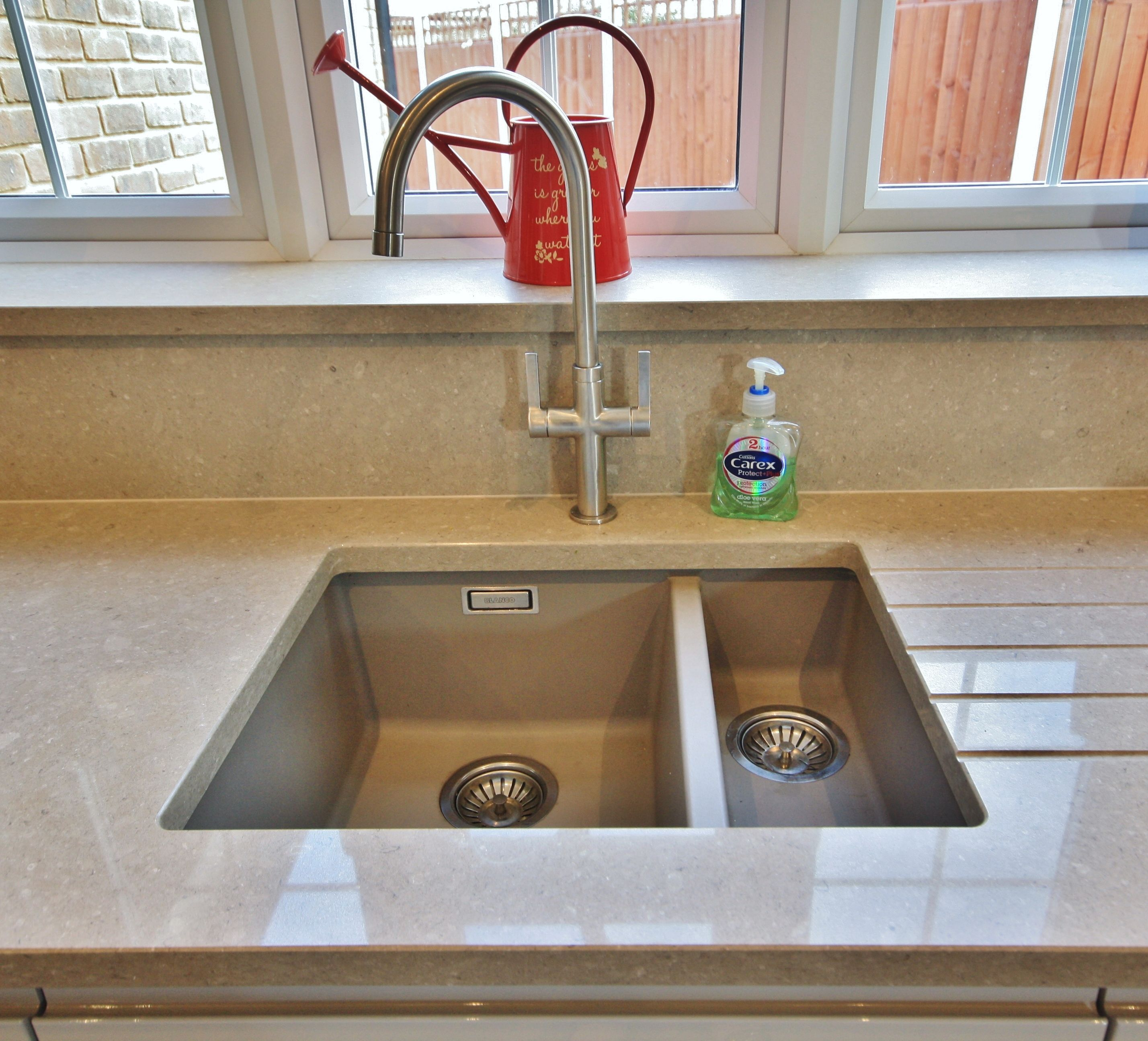 Silestone integrity sink with recess drainer - Blanco Under Mounted Sink With Drainer Grooves On The Right Hand Side Designed Supplied And Installed By Kitchencraft Essex