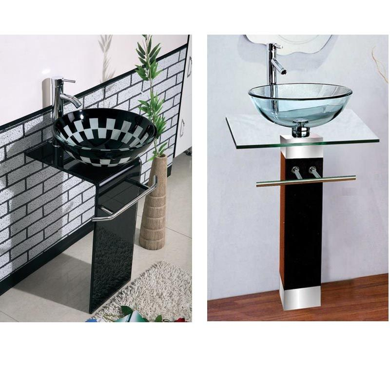 Wood Stand Bathroom Vanity Sinks With Clear Glass Wash Bowl