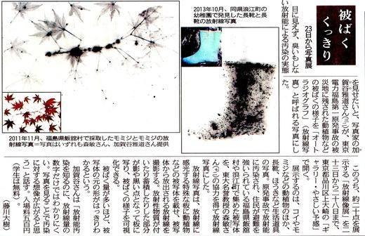 Surprised! Radiation can be seen./  To take radiation with auto radiograph :Tokyo newspaper 放射線が見える。ビックリだ! / 放射線を撮る オートラジオグラフ 東京新聞