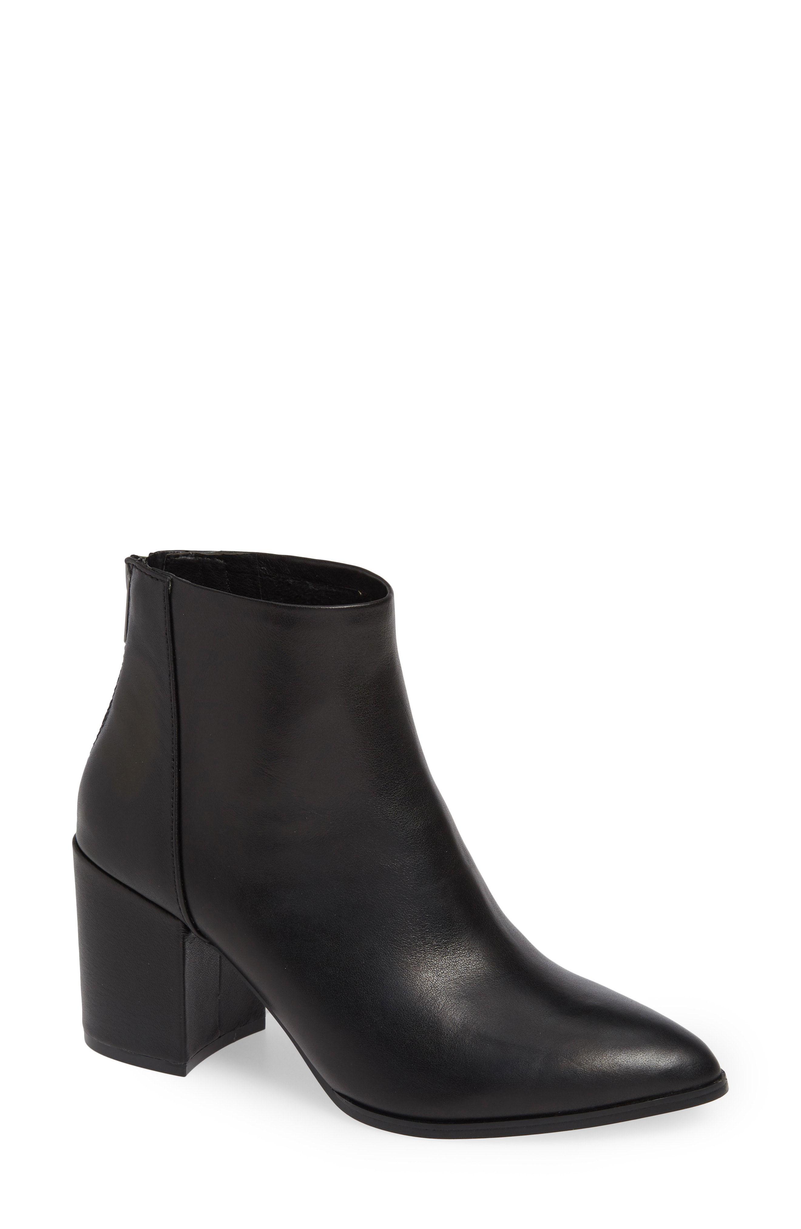 3a9f4c6906a steve madden jillian black leather chunky heel pointy toe bootie ...