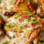 Skillet Chicken with Bacon Cream Sauce