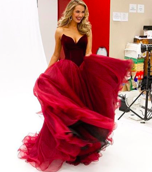8d344b8f120 Sherri Hill Velvet red dress. Is that BLACK TULLE underneath !  Now I love  it more!!