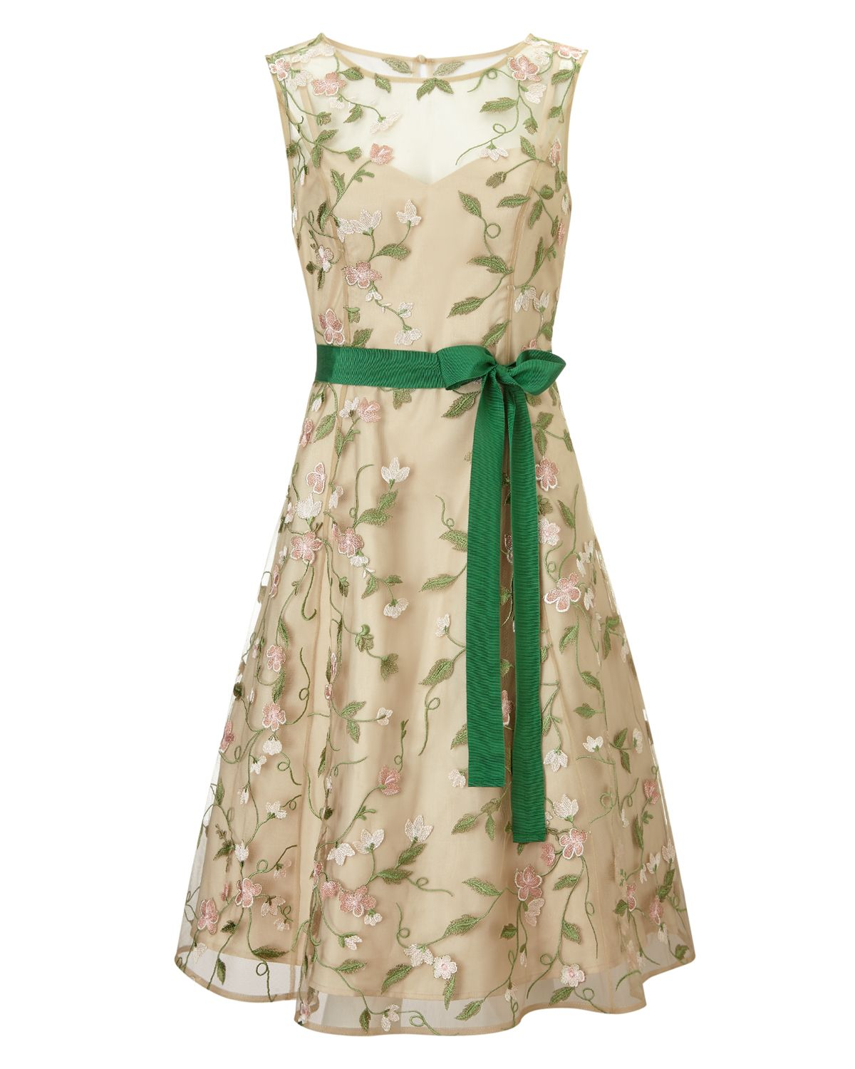 wedding guest | Yellow Loretta Dress | Phase Eight > A floral embroidered  dress with sheer