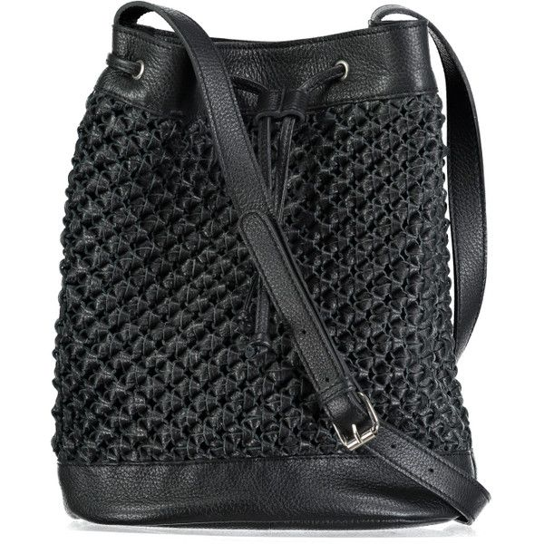 Aurora Bucket Bag Black ($220) ❤ liked on Polyvore featuring bags, handbags, shoulder bags, leather bucket bag, crochet shoulder bag, leather purses, print purse and bucket bags