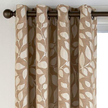 Cindy Crawford Style Sonoma Leaf Print Grommet Top Drapery Panel