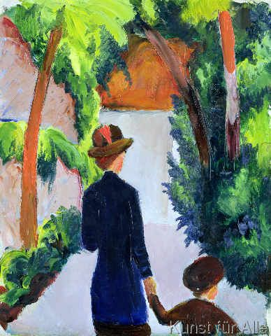 Mother and Child by August Macke Giclee Fine ArtPrint Reproduction on Canvas