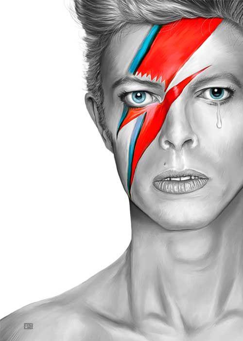 David Bowie Aladdin Sane Art Print Handmade Artwork David Bowie Artwork David Bowie Art Bowie Art