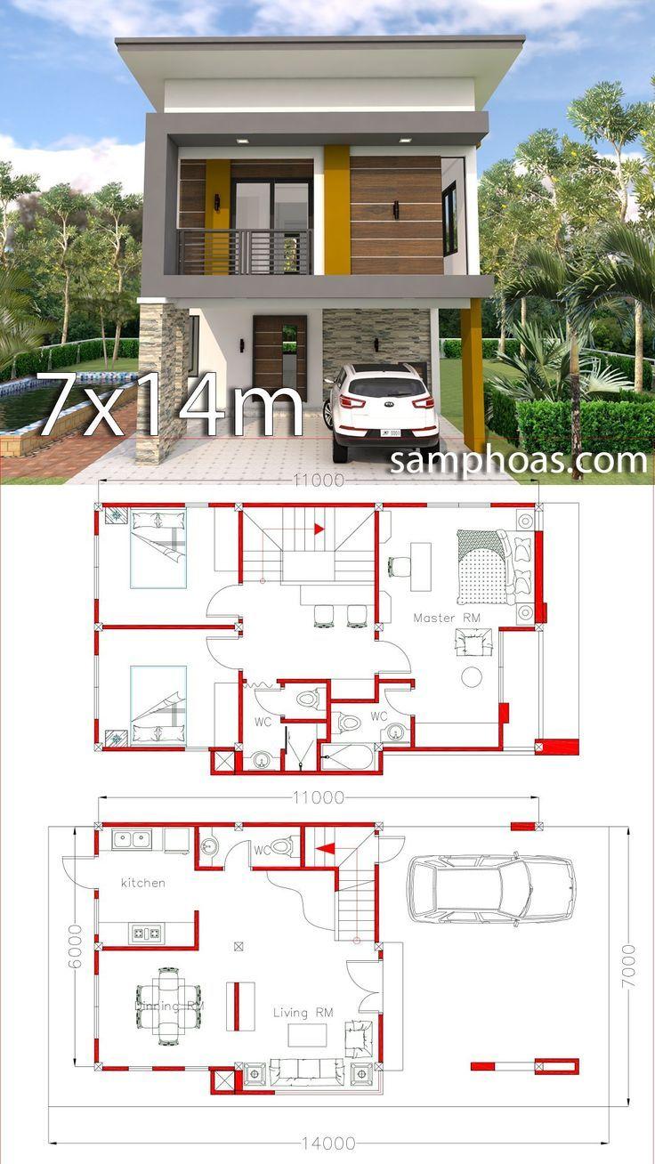 Plan De Petite Maison 6x11m Avec 3 Chambres A Coucher Samphoas Plan Petite Maison Plan Maison Architecte Maison Architecte