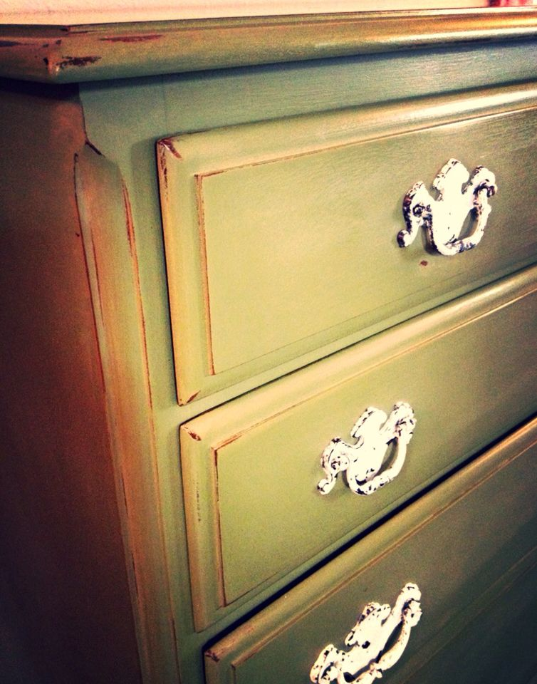 Olive and English yellow chalk paint mix with old white distressed