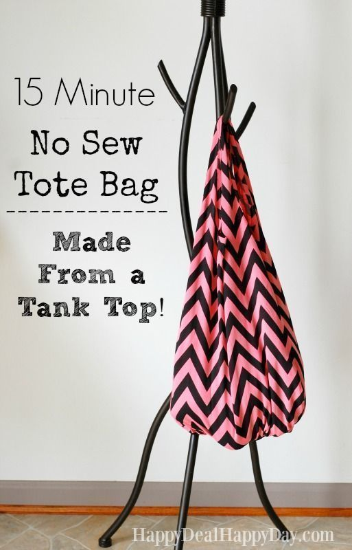 Learn how to take a tank top and turn it into an adorable tote bag in just 15 minutes. No sewing required! Great project for kids too! #totebag #upcycle #repurpose #kidsactivities #nosew