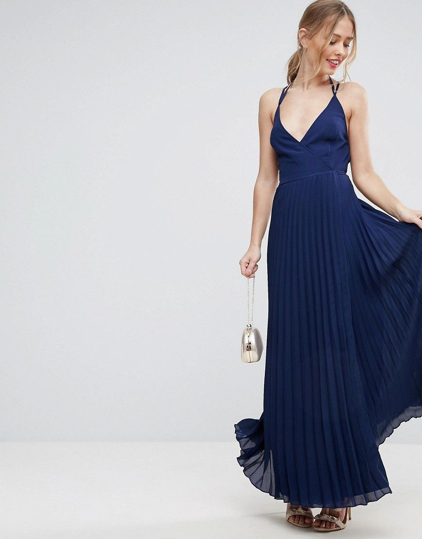 87ca97d4c ASOS Wrap Front Pleated Maxi Dress - Navy | Prom | Pleated maxi ...