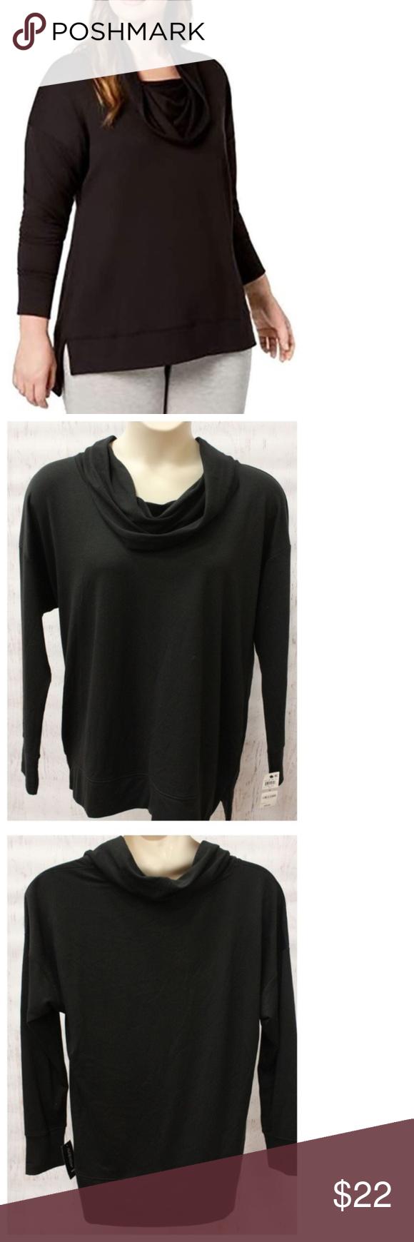Womens Black Ideology Short Sleeve Cowl Neck Shirt Shirt Size 1X NWT NEW