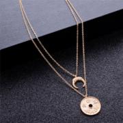 Photo of LIN | Golden multilayer necklace choker moon chinese coin | Mehrlagige goldfarbene minimalistische Halskette Collier Mond chinesische Münze