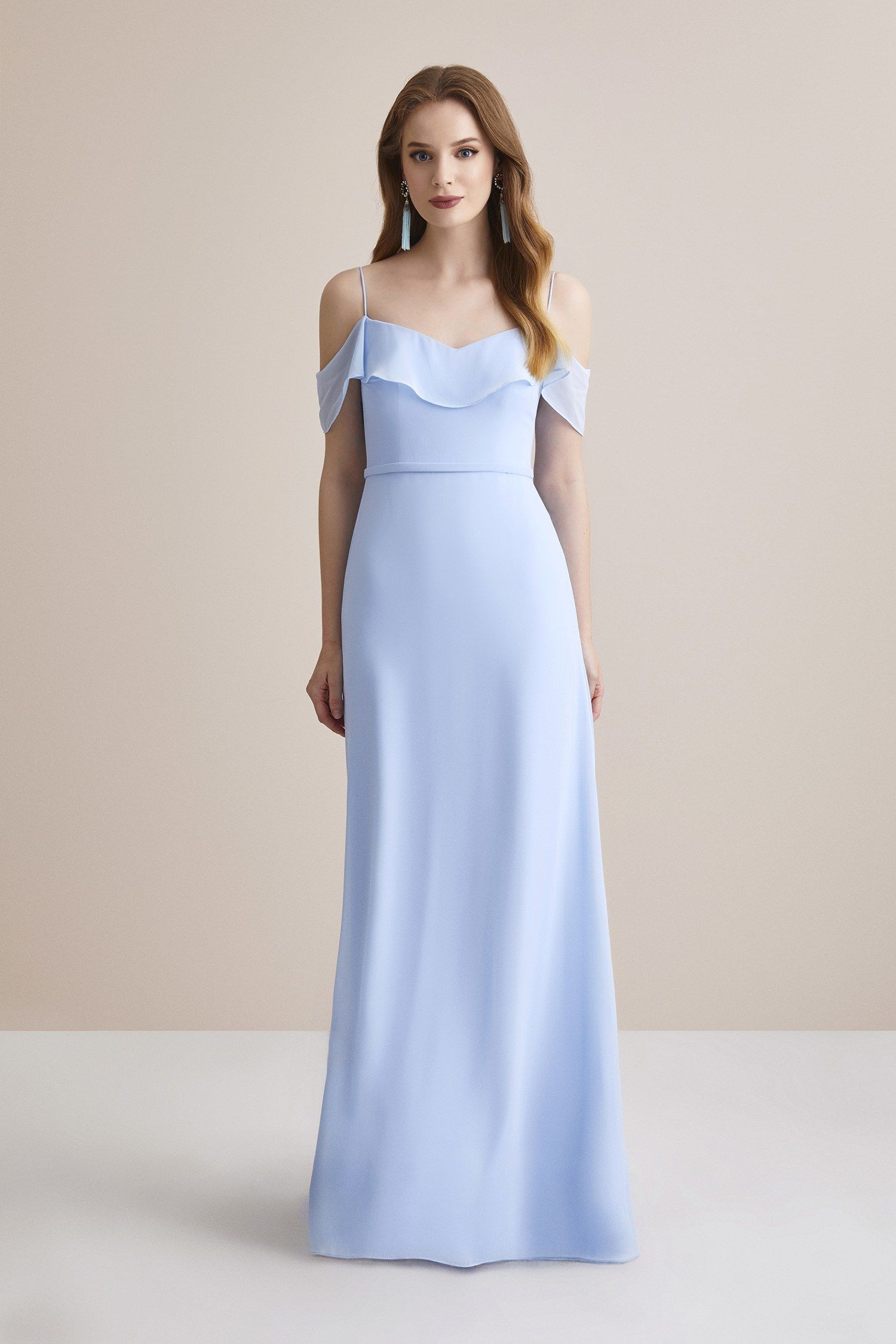 Buz Mavisi Ince Askili Sifon Uzun Elbise Oleg Cassini Uzun Elbise Elbise Kiyafet