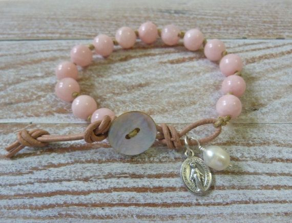 pink jade knotted bracelet  french vintage by beachcomberhome, $32.00