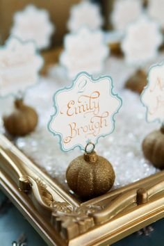 aqua and gold escort cards // photo by Pepper Nix // styling by Utah Events by Design