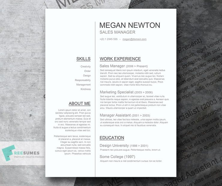 160 Free Resume Templates Instant Download Freesumes Resume Template Word Clean Resume Template Resume Templates