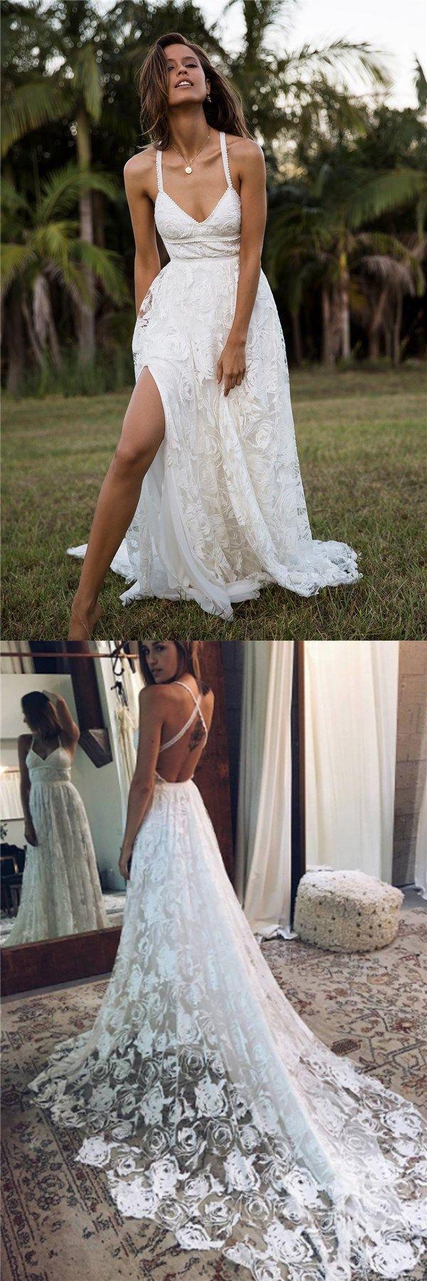 Lace strap wedding dress   Charming Lace Long Aline Fashion Spaghetti Straps Wedding