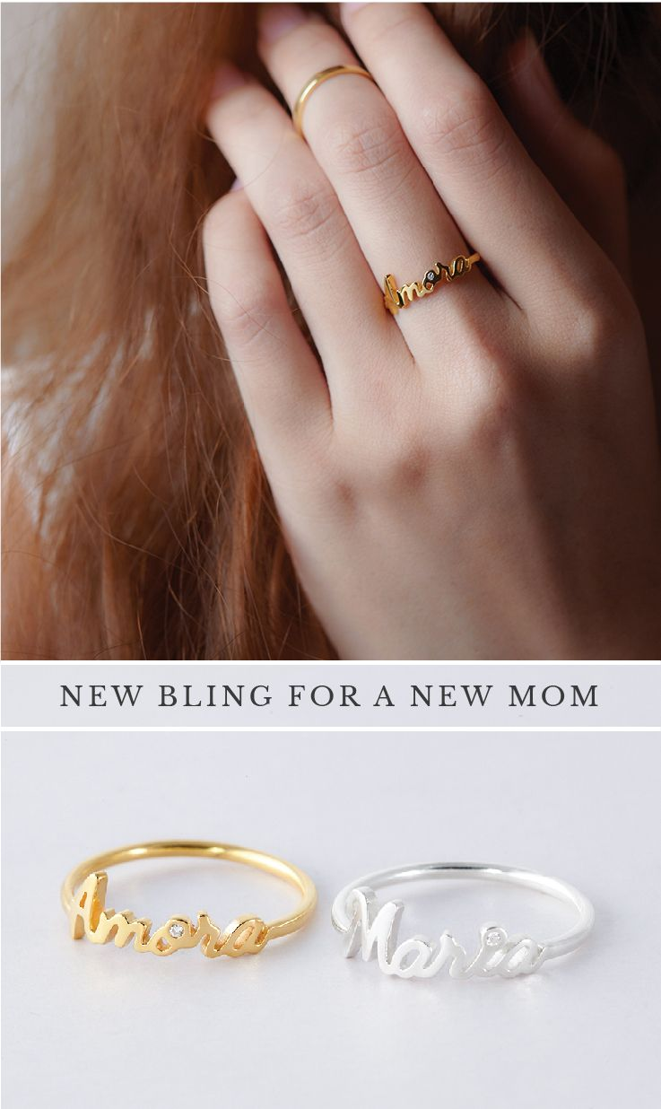Personalized Name Rings With Accent Stone Stackable Name Ring