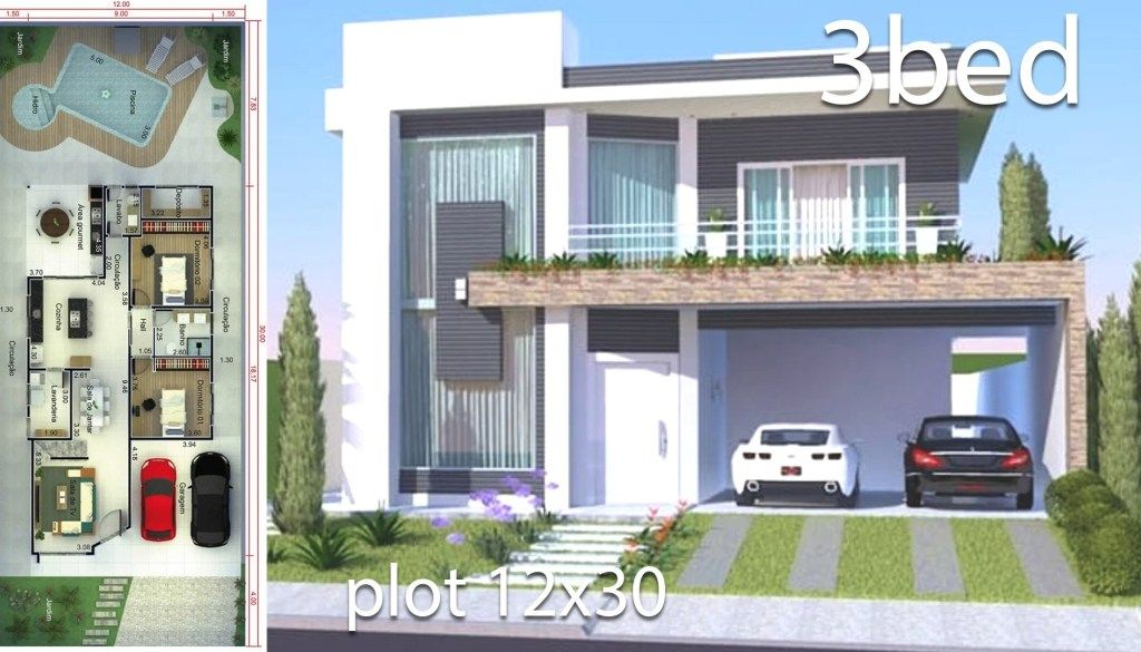 Home Design 12x30 Meters 3 Bedrooms Home Design With Plan House Design House Plans Contemporary House