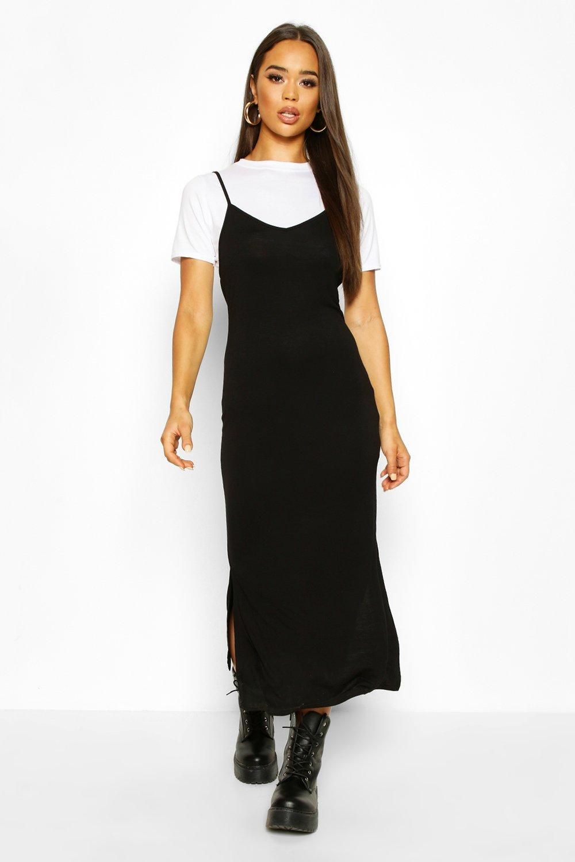 T Shirt Layered Midaxi Slip Dress Boohoo Slip Dress Outfit Long Dress Outfits Layering Outfits [ 1500 x 1000 Pixel ]