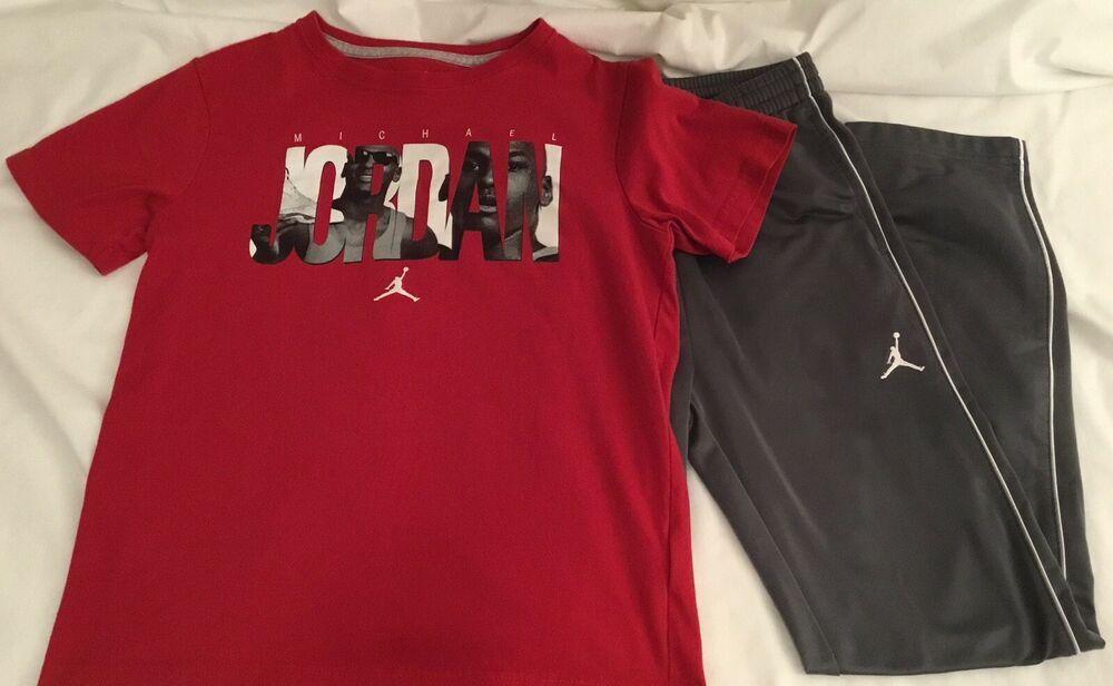6001a5cbb81 NIKE AIR JORDAN Boys Jumpman Basketball Sweat Pants & T-Shirt Gray Red  Youth L #Nike #AthleticSweatPantsJoggerSweatSweatPants # ...