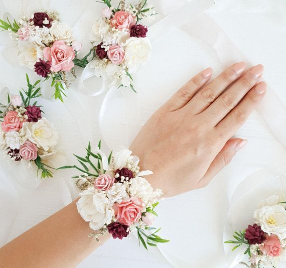 Flower wrist corsage, Winter flower wrist corsage, Burgundy Blush Bridesmaids wrist corsage #corsages