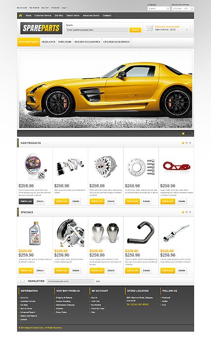 Spare Parts Magento Theme New Website Templates Web Design Template