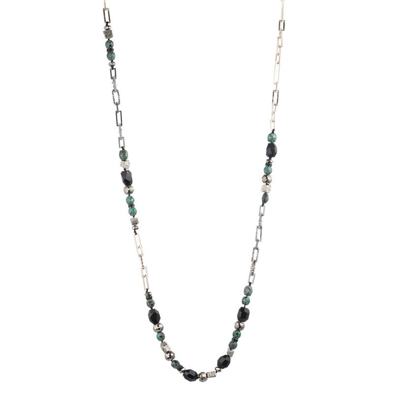 Alexis Bittar Long Crystal Chain Link Necklace, Green/Black