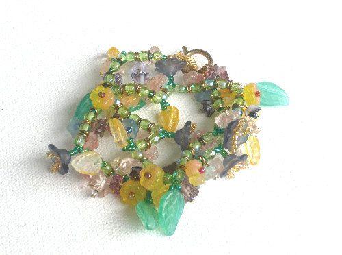 Glass Floral Wrap Bracelet  Handmade by Lottieoflondon, £16.00