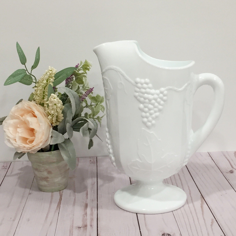Vintage Colony Harvest Grape White Milk Glass 64 Ounce Etsy White Milk Glass Milk Glass Vintage Glassware