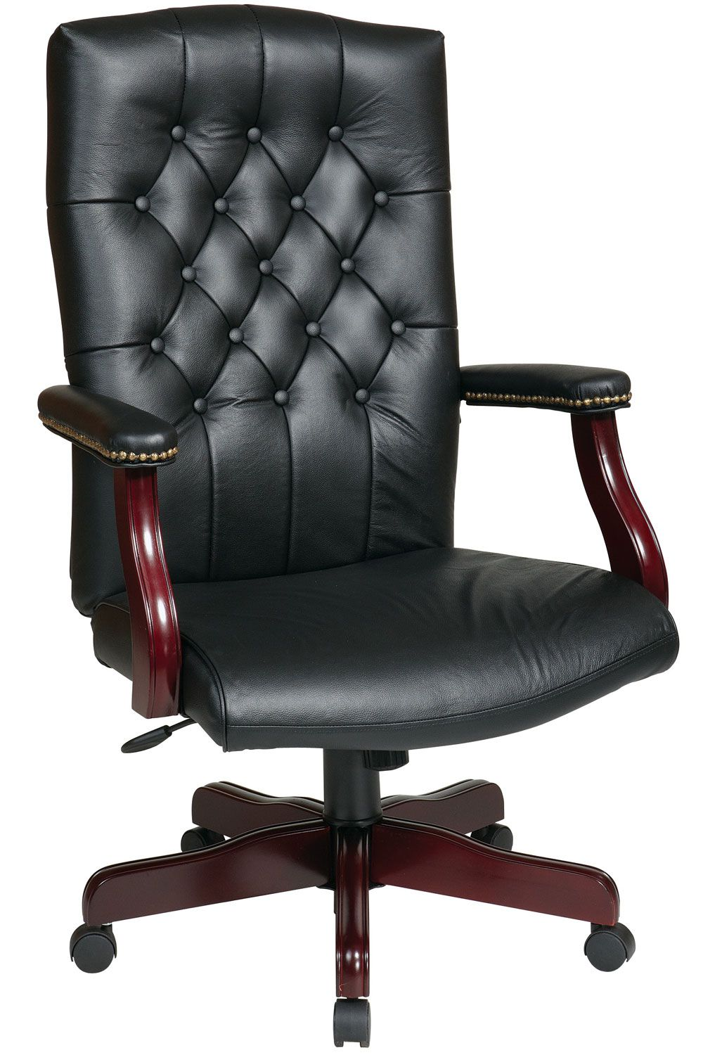 Tex232l 3 Office Star Traditional Black Leather