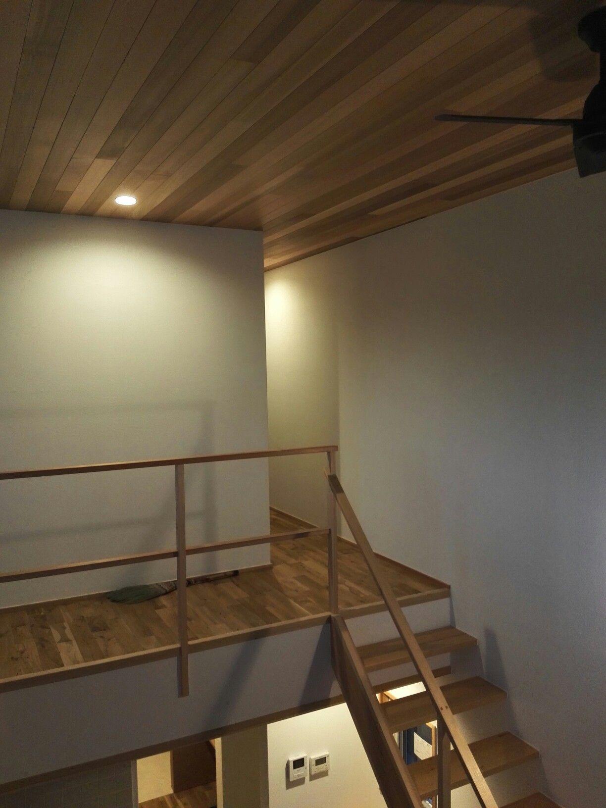 レッドシダー天井 吹き抜け 階段 Kizukiya の家 家 レッドシダー