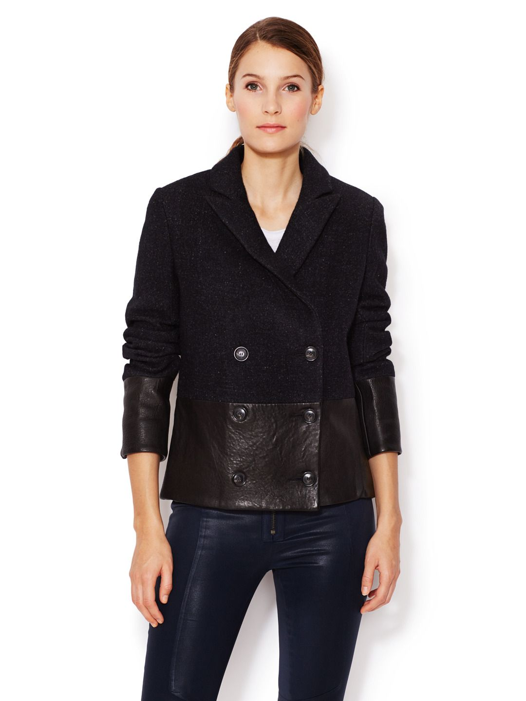 Alberta Wool Peacoat With Leather Trim             Women #Outerwear