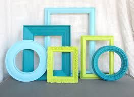 Lime Green Aqua Teal Turquoise Ornate Frames Set Of 6 Upcycled Painted Modern Frame Bedroom Decor Circle Round On Etsy Sold
