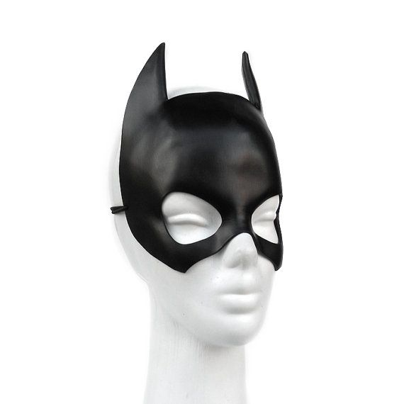 Black Batgirl Leather Mask Batman Halloween Costume Comic Book Geek Girl Cosplay