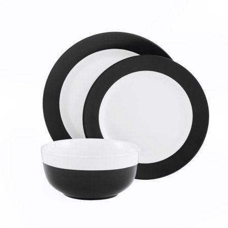 Mainstays 12 Piece Black And White Dinnerware Set Home Wishlist