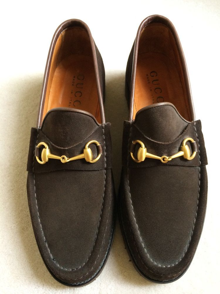 Gucci Men's Brown Suede Loafers Made In Italy Size 10.5 New #Gucci #LoafersSlipOns