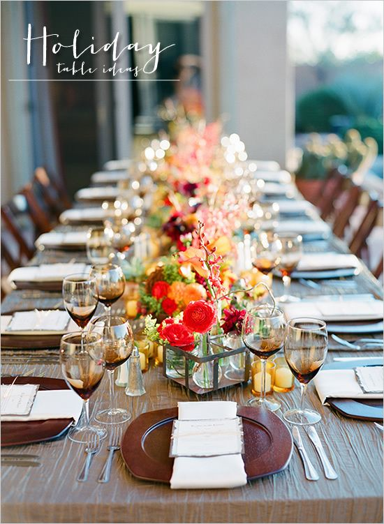 Fall table decor ideas holiday tables holidays and for Pictures of fall table decorations