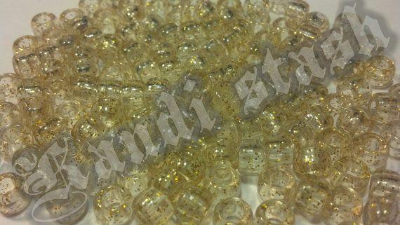 100 GOLD GLITTER/SPARKLE pony beads by KandiStash on Etsy, $2.00