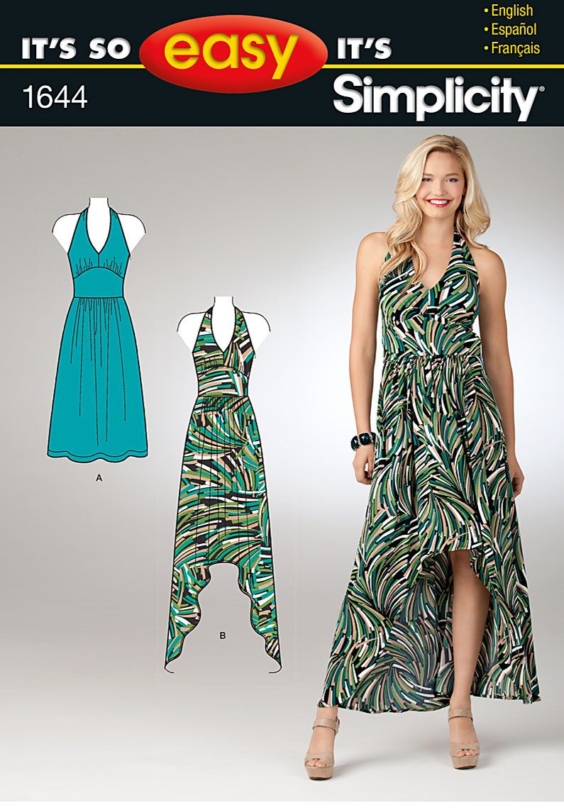 Simplicity 1644 pullover knit halter dress has smooth front midriff ...